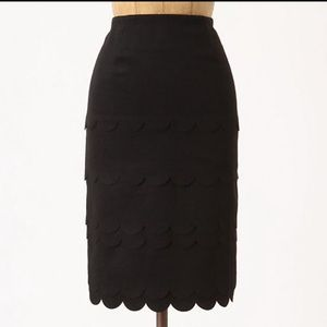 Anthropologie scalloped pencil skirt